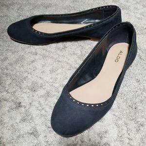 Blue suede ballet flat shoes